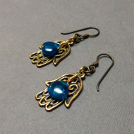 Apatite Hamsa Hand Protection Earrings.