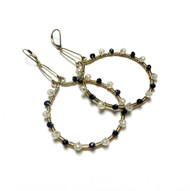Sterling Silver Moonstone Black Spinel Inner Beauty Hoop Earrings
