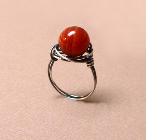 Sterling Silver Wrapped Red Agate Ring.