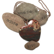 Brecciated Jasper Heart Necklace.