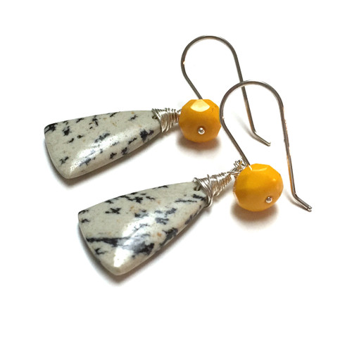 Sterling Silver Sapling Jasper Earrings. Czech Glass Charms.