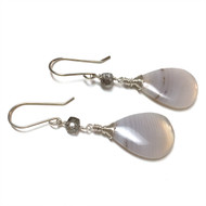 Sterling Silver Banded Agate Earrings with Tourmilated Quartz, Grey-White