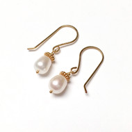 Gold Filled Freshwater Pearl Drop Earrings.