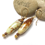Gold Filled Lemon Chrysoprase Earrings.
