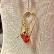 Gold Filled Padparadscha Orange Corundum Quartz Teardrop Earrings. Synch Me Talisman.