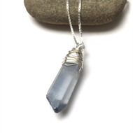 Sterling Silver Wrapped Blue Quartz Point Necklace