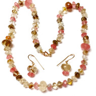 Hand Silk Knotted Rutilated Cherry Quartz Necklace Earrings Set