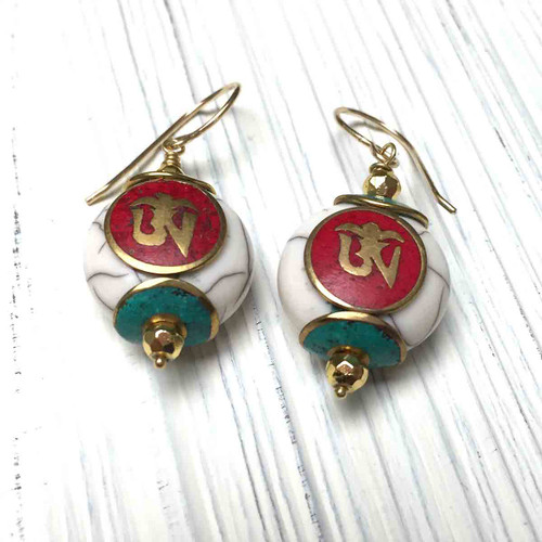 Gold Filled Conch Shell Ohm Earrings, Coral and Turquoise Inlays
