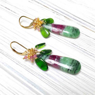 Gold Filled Ruby Zoisite Long Drop Cluster Earrings