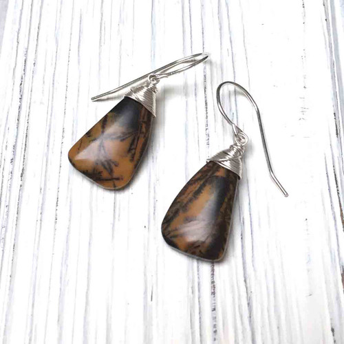 Sterling Silver Black Feather Agate Earrings