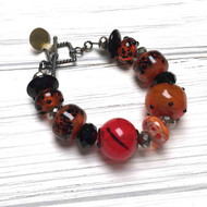 Sterling Silver Lampwork Bracelet, black, orange