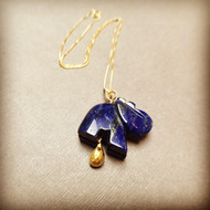 Gold Filled Handmade Lapis Lazuli Serenity Elephant Necklace