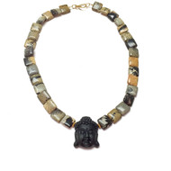 Gold Vermeil Carved Buddha Necklace