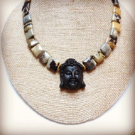 Gold Vermeil Carved Buddha Light into Darkness Necklace