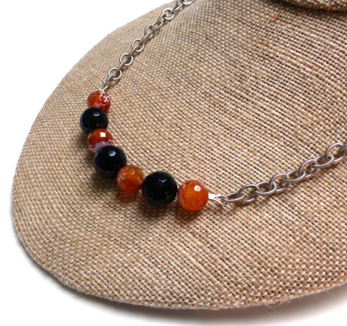 Miracle Agate Black Onyx Protective Embrace Necklace