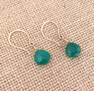 Gold Filled Emerald Green Chalcedony Earrings