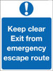 Keep clear exit from emergency escape route sign