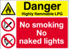 Danger Highly flammable LPG No smoking No naked lights sign