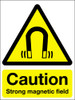 Caution strong magnetic field adhesive sign