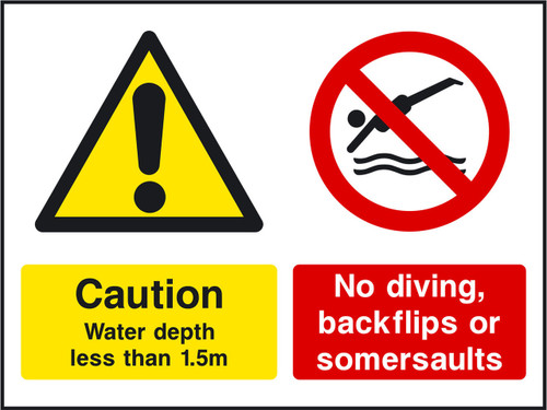 Caution water depth less than 1.5m No diving