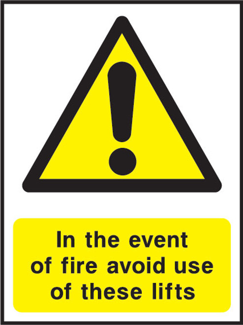 In the event of fire avoid use of these lifts