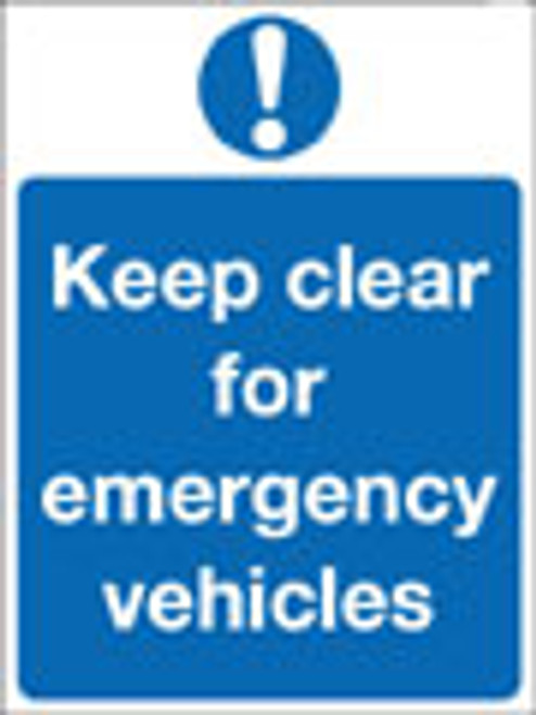 Keep clear for emergency vehicles sign