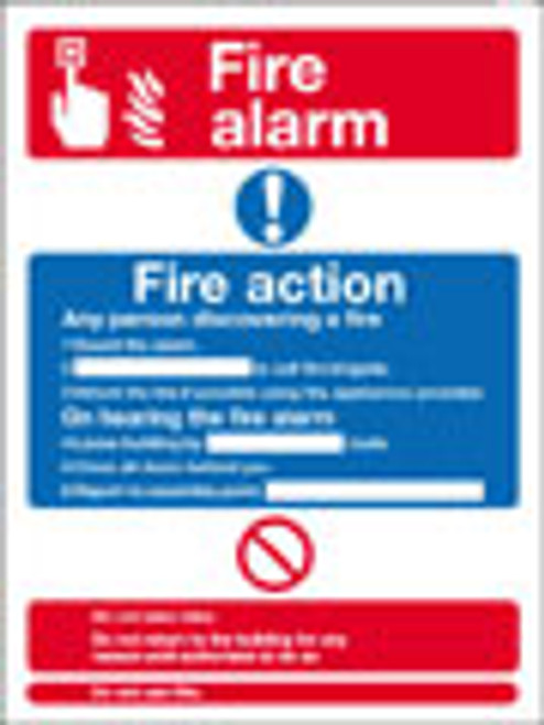 Fire alarm /Fire action sign