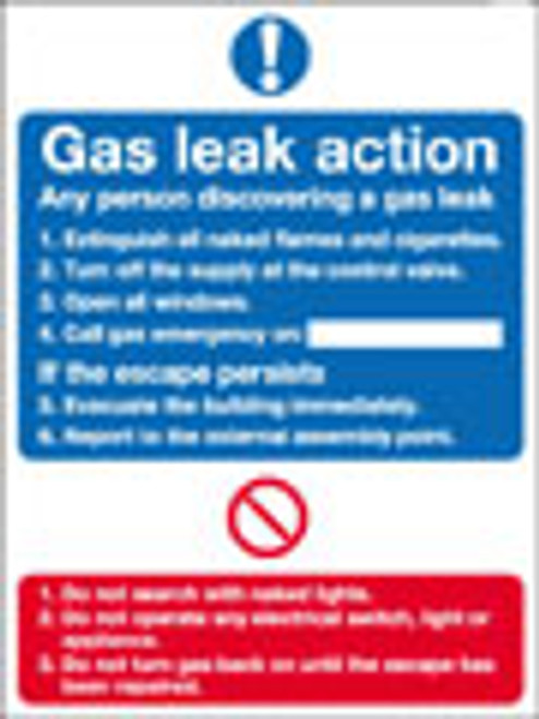Gas leak action notice