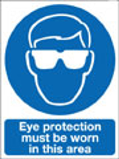Eye protection must be worn in this area sign