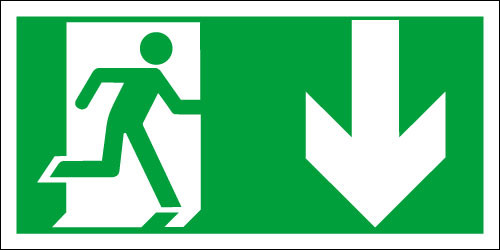 Fire exit sign, Running Man Down