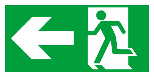 Fire exit sign, Running Man Left