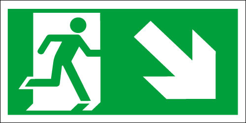 Fire exit sign, Running Man Down/Right