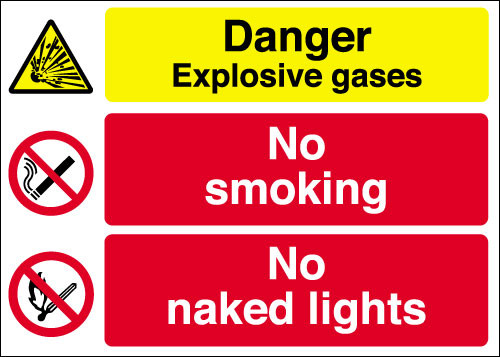 Danger Explosive gases  No smoking  No naked lights sign