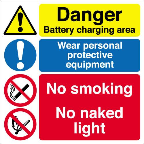 Danger battery charging area Y015