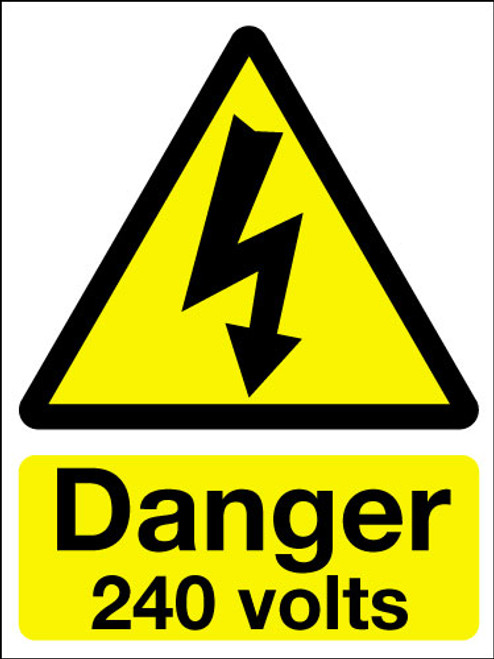 Danger 240 volts adhesive sign