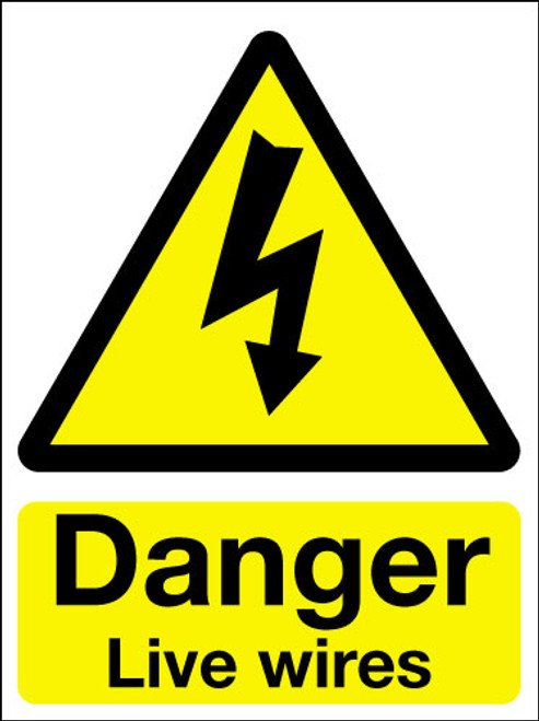 Danger live wires adhesive sign