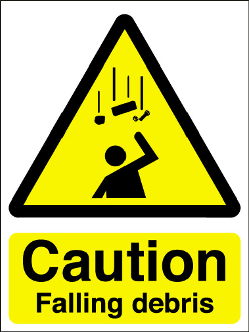 Caution falling debris sign