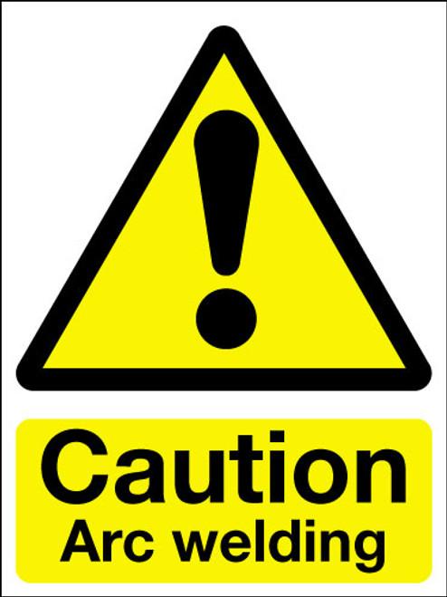 Caution arc welding adhesive sign