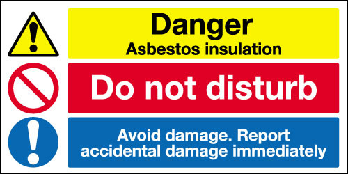 Danger asbestos insulation sign