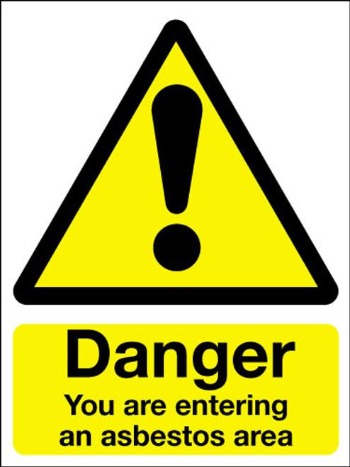 Danger you are entering an asbestos area sign