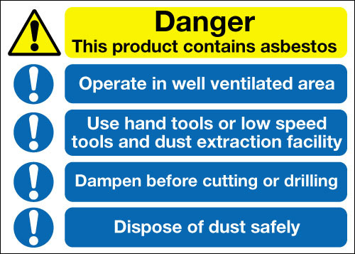 Danger this product contains asbestos sign