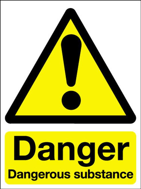 Danger dangerous substances adhesive sign