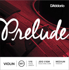 D'Addario Prelude Violin String Set, 1/16 Scale, Medium Tension