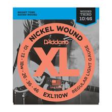 D'Addario EXL110W Wound 3rd Regular Light .010 - .046 Nickel Wound Electric Guitar Strings