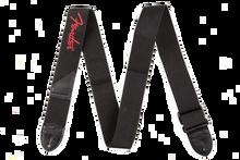 Fender Black Polyester Red Logo Guitar Strap