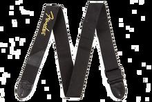 Fender Black Polyester Yellow Logo Guitar Strap