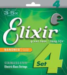 Elixir Nickel Plated Steel Electric Bass Guitar Strings - Nanoweb Light .045 - .100