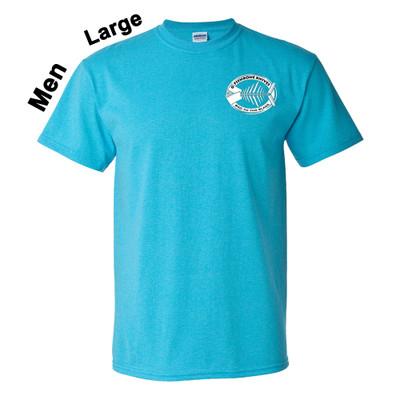 Fishbone Knives Mens 100% Cotton Heather Sapphire Large T-Shirt