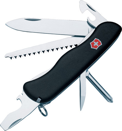 "Victorinox 4 3/8"" Closed Swiss Army Trekker Black Multi-tool Pocket Knife Lockblade VN54854 54854"