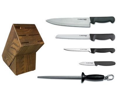 Dexter Russell Cutlery Basics Essential Knife Block Set - Black VB4052